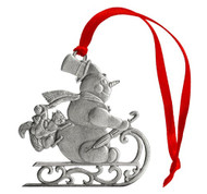 Snowman on Sled Ornament