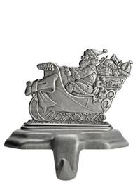 Santa in Sleigh with Bow - Stocking or Basket Holder