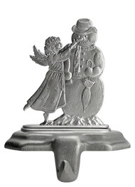 Angel with Snowman - Stocking or Basket Holder