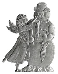 Angel and Snowman - Pin