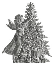 Angel and Christmas Tree - Pin