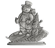 Skiing Snowman and Penguin - Paperweight or Figurine