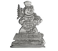 Snowman with Sled - Paperweight or Figurine
