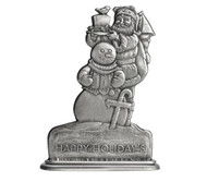 Santa with Snowman - Paperweight or Figurine