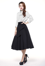 Black Performance Full Skirt with Sash