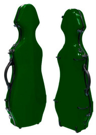 Green Fiberglass Violin Case Cello-Shaped