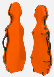 Orange Fiberglass Violin Case Cello-Shaped