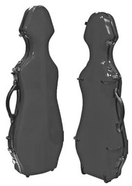 Silver Fiberglass Violin Case Cello-Shaped