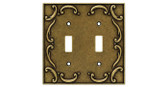 126349 Burnished Antique Brass French Lace Double Switch Cover Plate