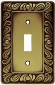 64049 Paisley Single Switch  Tumbled Antique Brass Cover Plate