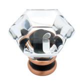 "P15573C-472 1 1/4"" Clear Acrylic & Bronze w/ Copper Cabinet Drawer Knob"