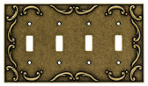 126383 Burnished Antique Brass French Lace Quad Switch Cover Plate