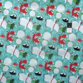 David Walker PWDW095 Winter Wonderland Ice Skate Peppermint Cotton Fabric By Yard