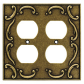 126384 Burnished Antique Brass French Lace Double Duplex Cover Plate