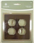 64550 Ceramic Insert Double Duplex Mahagony Cover Wall Plate