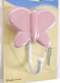 085-03-3823 Pink Butterfly Single Coat Hat Robe Hook