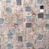 Tim Holtz PWTH021 Eclectic Elements Correspondence Taupe Cotton Fabric By The Yard