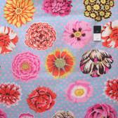 Kaffe Fassett GP91 Big Blooms Duck Egg Cotton Fabric By Yd