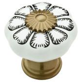 "085-03-2876 1 1/8"" Ceramic & Champagne Bronze Floral Cabinet Drawer Knob 2 Pack"