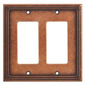 135769 Ruston Sponged Copper Double GFCI Rocker Cover Plate
