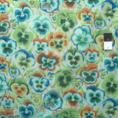 Philip Jacobs PWPJ076 Pansies Green Cotton Quilting Fabric By Yard