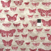 Tim Holtz PWTH004 Eclectic Elements Butterflig​ht Red Cotton Fabric By Yard