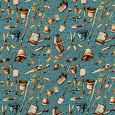Marjolein Bastin PWMB013 Marjolein's Garden Garden Tools Teal Fabric By Yard