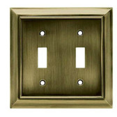 Hampton Bay 61127 Architect Antique Brass Double Switch Wall Cover Plate