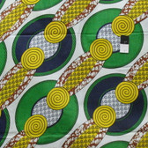 African Tribal Print T-5036 Green & Yellow Polished Cotton Fabric By The Yard