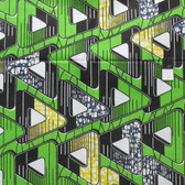 African Tribal Lime Triangles Print T-5058 Polished Cotton Fabric By The Yard