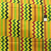 African Tribal Kente Print T-5004 Polished Cotton Fabric By The Yard