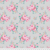 Tanya Whelan Gazebo PWTW152 Blue Sky Floral Taupe Cotton Fabric By The Yard