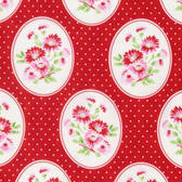Tanya Whelan Rambling Rose PWTW135 Granny's Wallpaper Red Cotton Fabric By Yd