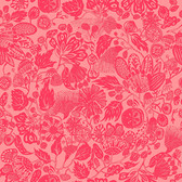 Shannon Newlin Floral Waterfall PWSN003 Woodcut Red Cotton Fabric By Yd