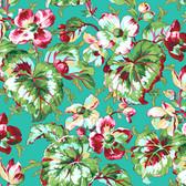 Snow Leopard English Garden PWSL054 Begonia Aqua Cotton Fabric By Yd