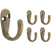 Franklin Brass FBSPRH5-AB Single Prong Hook Antique Brass Finish 5 Pack