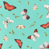 Henry Glass 1196-16 Poppy Perfection Tossed Butterflies Quilting Fabric By Yd