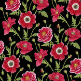 Henry Glass 1192 Poppy Perfection Sm Poppy Flower Quilting Fabric By Yd