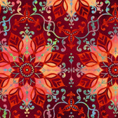 Studio E 3914-88 Aflutter Floral Medallion Red Cotton Quilting Fabric By Yd