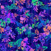Studio E 3911-77 Aflutter & Fern Indigo Cotton Quilting Fabric By Yard