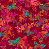 Studio E 3911-88 Aflutter & Fern Scarlet Cotton Quilting Fabric By Yard
