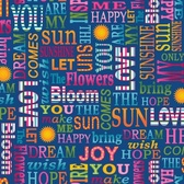 Studio E 3944-77 Sunshine Kisses Words Dk Blue Cotton Quilting Fabric By Yard