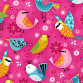 Studio E 3942-22 Sunshine Kisses Birds Pink Cotton Quilting Fabric By Yard