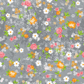 Blank Quilting B9101-90 Roses & Arrows Med Floral Gray Cotton Fabric By Yard