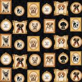 Blank Quilting B8932-99 Faithful Friend Dog Portraits Black Fabric By Yard