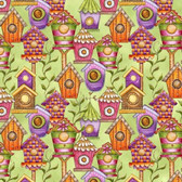 Blank Quilting 8686-65 Garden Glory Birdhouses Lt Green Cotton Fabric By Yard