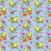 Blank Quilting 8682-11 Garden Glory Frogs Lt Blue Cotton Fabric By Yard