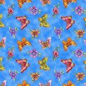 Blank Quilting 8683-77 Garden Glory Butterflies Blue Cotton Fabric By Yard