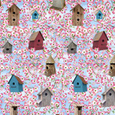 Blank Quilting 9011-11 Birds Of A Feather Birdhouses Lt Blue Fabric By Yard
