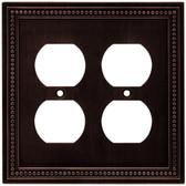 Brainerd 64402 Venetian Bronze Beaded Double Duplex Outlet Cover Plate